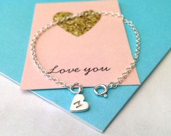 Initial Heart Bracelet, Silver Heart Bracelet, Best Friend Bracelet, Birthday Gift, Initial Gift, Bridesmaid Bracelet, Heart Bracelet