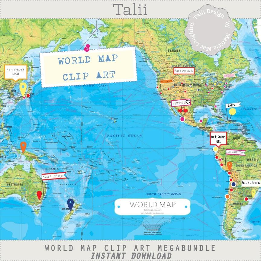 World map clip art megabundle travel map digital 1 editable zoom gumiabroncs Choice Image
