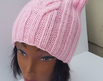 Pink cat hat, Pussy hat, Pink pussy hat, Ears hat, Pink cat hat, Cat ears hat, Cat ear hat, Feminist hat, Cat beanie, Pink Pussycat hat