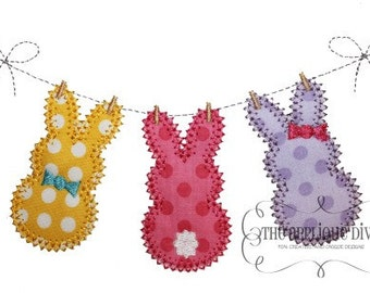 Easter 3 Rabbits on the Line  Digital Embroidery Design Machine Applique