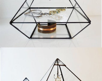 Pyramid with a glass shelf and  a display hook. Pyramid Display Box, Stained Glass Display Box, Clear Glass Jewelry Box
