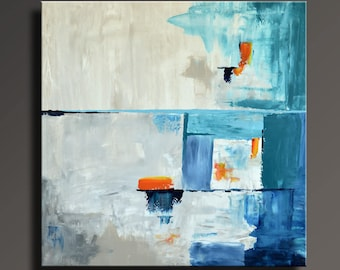 ABSTRACT PAINTING White Orange Blue Turquoise Gray Painting Original Canvas Art Abstract Modern Art 36x36 Wall Decor #19Ci3