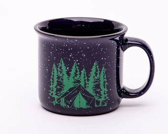 Camping Coffee Mug - Camp Fire Mug - Ceramic Mug - Tin look-a-like Cup - Screen Printed - Coffee Cup