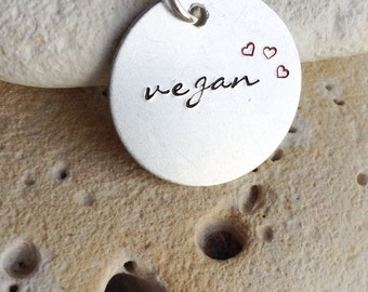 "Vegan necklace - vegan jewelry - Handstamped vegan animal rights necklace with tiny red hearts on 18"" chain"