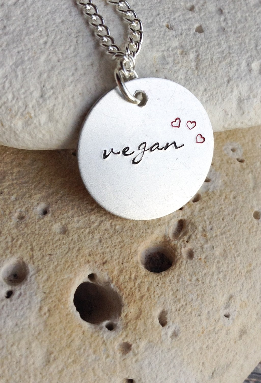 Vegan necklace - vegan jewelry - Handstamped vegan animal rights necklace with tiny red hearts on 18