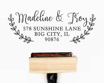 Custom Personalized Return Address Pre-Designed Rubber Stamp - Branding, Packaging, Invitations, Party, Wedding Favors - A002