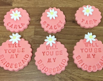 Fondant Will you be my Bridesmaid & Name Toppers - Sugarpaste - Cupcake Decorations - Bridesmaid Proposal - Fondant Topper