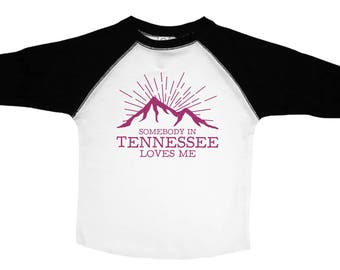 Kids Tennessee Shirt, Somebody In Tennessee Loves Me, Kids Tennessee Tee, Tennessee Mountain Tshirt, Girls Mountain Tee, Purple Mountains