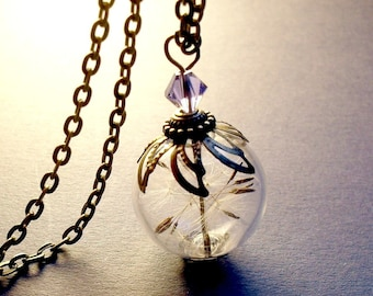 DANDELION NECKLACE, Dandelion Seeds Make A Wish Glass Bead Orb Silver Necklace Botanical Globe Beadwork