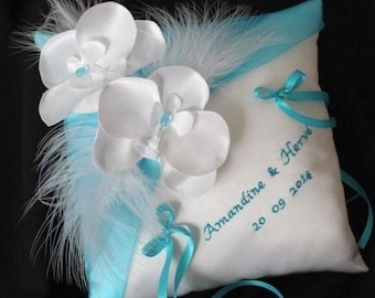 With or without embroidery, Orchid pillow ring bearer (or ivory) white and turquoise