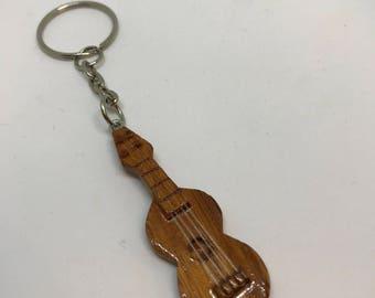 Wood guitar / ukulele keychain with string key holder handmade