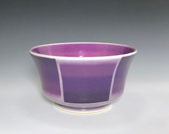 Purple Ceramic Bowl, Purple Soup Bowl, Cereal Bowl, Porcelain Bowl, Purple Candy Dish, Ceramic Soup Bowl, Purple and Pink Ombré Pottery Bowl