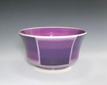 Purple Soup Bowl, Cereal Bowl, Purple Ceramic Bowl, Porcelain Bowl, Pottery Candy Dish, Ceramic Soup Bowl, Purple & Pink Ombré Pottery Bowl