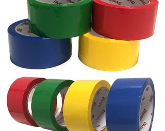 Coloured Packing Tape Rolls - Packaging Parcel Adhesive Sticky Sellotape