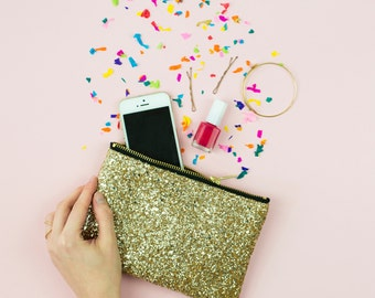 Gold Glitter Party Clutch Purse Bridesmaid Make Up Bag.