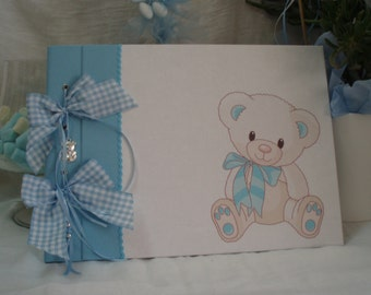 Baby  shower guestbook-Baptism guest book- baby keepsake- bear guest book-guest sign baby book