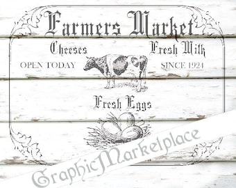 Farmers Market Farm Instant Download Transfer Burlap digital sheet graphic printable graphic vegetables fruits No. 1153
