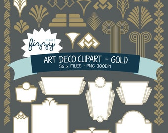 PNG: 56 x Art Deco 1920s 1930s Gold Clipart - Digital files PNG 300dpi with Instant Download. CA0028