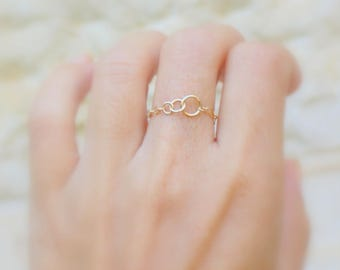 Sister rings for 3 -  Best friend rings gold  - Best friend rings for three - 3 best friend rings - 3 links chain rings