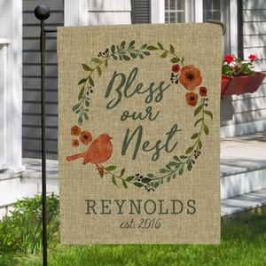 burlap garden flag. Personalized Bless Our Nest Double Sided Burlap Garden Flag, Decor, Polyester, Spring Flag