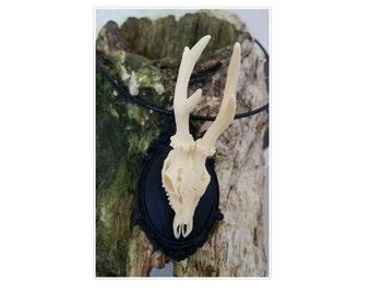 Resin deer antlers animal skull bones pendant gothic jewellery black vegan taxidermy (2 options of chain)