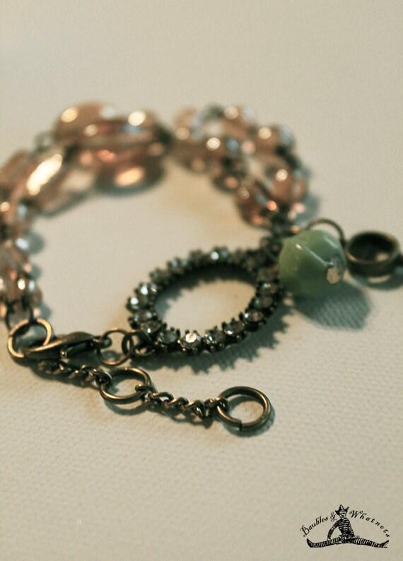 Vintage Inspired Chain Bracelet - Tea Colored Glass Beads - Aqua Glass Bead - Rhinestone and Vintage Brass - OOAK