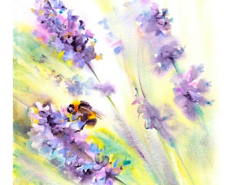Bee on lavender - Giclee Print of Watercolour Painting, Summer Flowers, Floral art, Watercolor, Floral Wall Art, wildlife, nature, Birthday