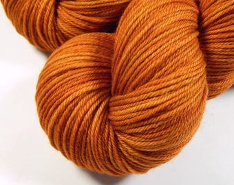 Hand Dyed Yarn, Sport Weight Superwash Merino Wool Yarn - Copper - Indie Dyed Knitting Yarn, Sock Yarn, Tonal Orange, DIY Gift