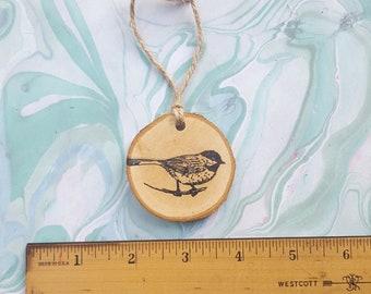 Bird Christmas Ornament / chickadee wood slice ornament
