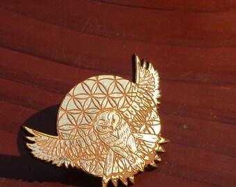Wood Gold Leaf Sacred G Owl