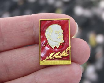 Vintage Soviet Lenin pin soviet Communist propoganda red Soviet USSR vintage pin badge history Lenin communism rare collectible Soviet pin