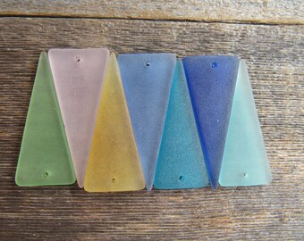 Sea Glass Diamond Shaped Pendant 2 inch x 3/4 Inch