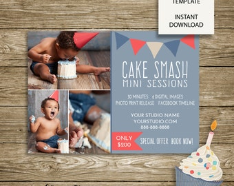 "Cake Smash ""Banner"" Mini Session - Photography Studio Marketing - 7x5 Photoshop Template - ***INSTANT DOWNLOAD***"