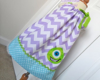 Mike Wazowski Monsters Inc/University Chevron Pillowcase Dress