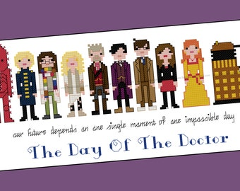 Doctor Who Inspired Day of the Doctor 50th Anniversary Cross Stitsch - PDF Pattern - INSTANT Download