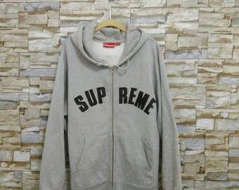 Vintage Supreme Jacket Sweatshirt Sweater Hooded Box Logo Black Pullover Rare Supreme Embroidered Logo Large