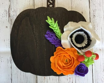 Wood pumpkin, felt flowers, Fall decor, Halloween decor, floral decor, pumpkin, halloween, home decor, wall decor