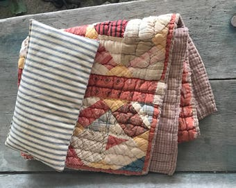 Antique Patchwork Top Doll Quit with Homespun Backing and Ticking Pillow    Primitive Doll Quilt Set