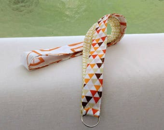Patchwork fabric lanyard long, necklace lanyard, colorful keychain orange brown white