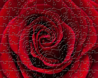 Red Rose Zen Puzzle - Hand crafted, eco-friendly, American made artisanal wooden jigsaw puzzle
