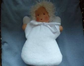 Waldorf Angel, Waldorf Doll, White, lucky charm, guardian angel, gift for girls, kindergarten, Christmas Angel,