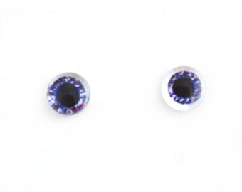 6mm Sparkling Purple Doll Glass Eyes Cabochons - Tiny Glass Eyes for Jewelry or Doll Making - Set of 2