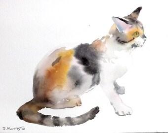 Street Cat, original painting, watercolor on watercolor paper, 12 X 9 in. cat lover, cat art, brown cat painting