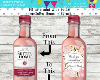 Wedding Thank You Mini Wine Bottle Labels Customized