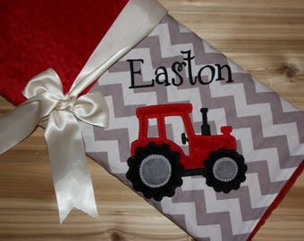 Tractor  - Chevron & Minky Baby Blanket with Embroidered Tractor