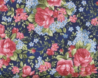 Pink and Red Roses with Blue Flowers on Navy Blue Cotton Quilt Fabric, Focal Print, Roses on the Vine by Marti Michell, Yardage, MAS8432-N