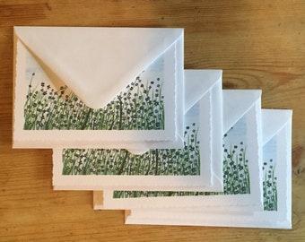 Flower print greeting cards set