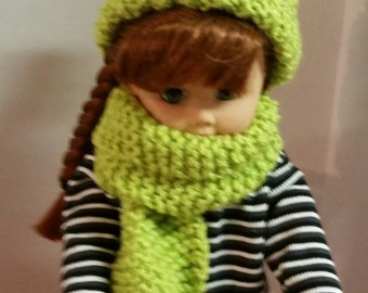 Knitted Hat with Pom Pom, hand knitted with Scarf Set