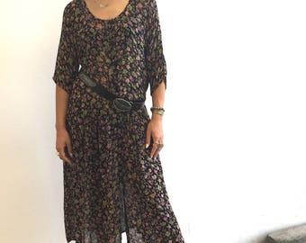Vintage 1970s Sheer Floral Maxi Dress - Drop Waist- Button down- Duster