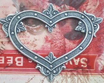 Gothic Heart, Brass Stampings, Sterling Silver Finish, Gothic Jewelry Supplies Made in the USA